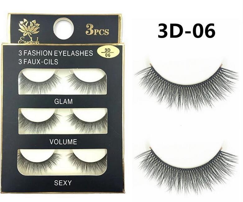 06 Wholesale Fashion 3d False Faux Mink Eyelashes Natural Lash Black