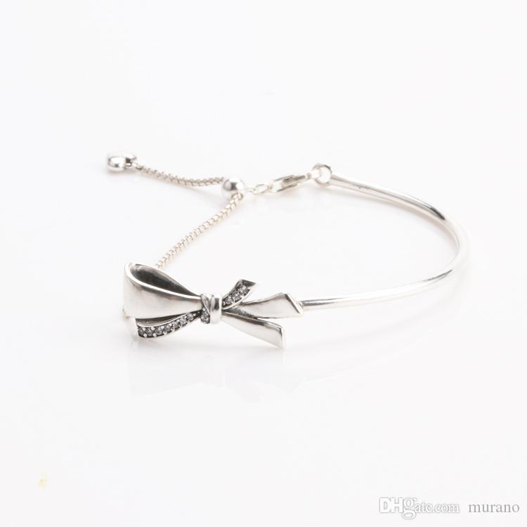 470857150 2019 Real 925 Sterling Silver Brilliant Bow Bracelet, Clear CZ With LOGO  Engraved Fit Pandora Charms And Bead From Murano, $74.12 | DHgate.Com