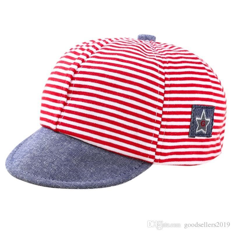 Mesh Striped Baby Summer Hat Boys Girls Adjustable Cap Sunhat For 6-12M Baby