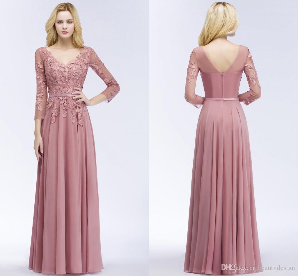 Formal Evening Gowns By Designers: 2018 New Designer Dusty Pink Long Prom Dresses With
