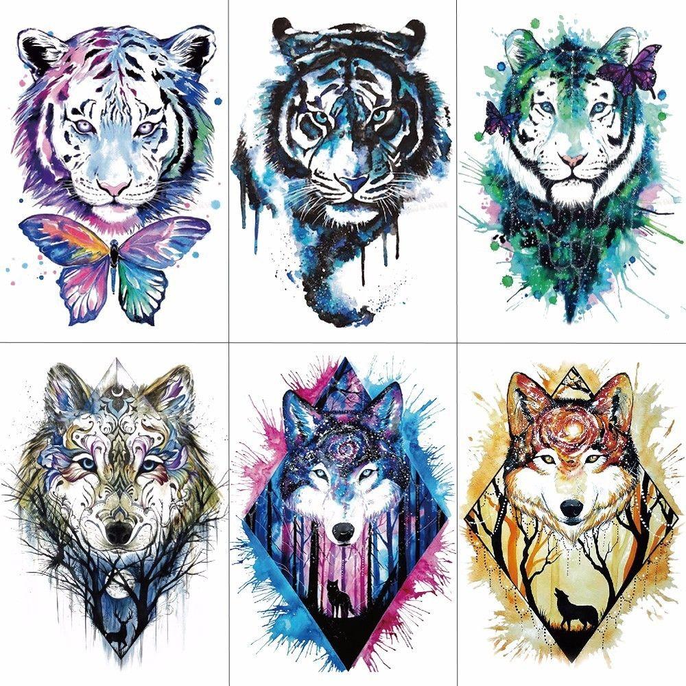 Wyuen Men Arm Sleeve Tattoo Sticker Wolf Tiger Temporary Tattoos