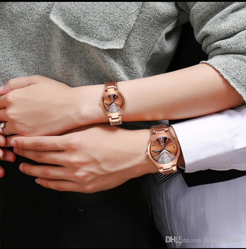 Sıcak Erkekler İzle Tungsten Çelik Severler Gül Kadınlar Çift Saatler Çince-İngilizce Takvim Kuvars Saat Su Geçirmez Izle Hediyeler Toptan