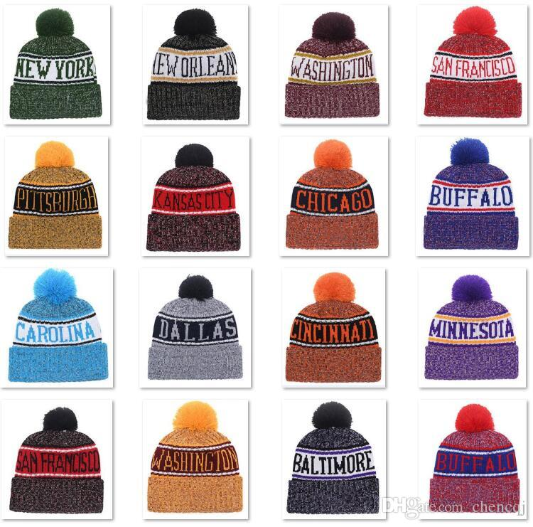 c25e7a77c36 2018 New Arrival Beanies Hats American Football 32 Teams Beanies Sports  Winter Knit Caps Beanie Skullies Knitted Hats Drop Shippping B02 Knit Hats  Cheap ...