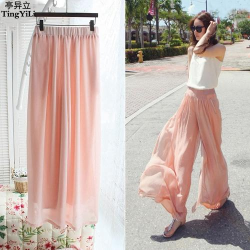 5e689762563f2a 2019 Chiffon Palazzo Pants High Waist Wide Leg Women Pants Summer Black  Pink Loose Casual From Whitecloth, $22.66 | DHgate.Com