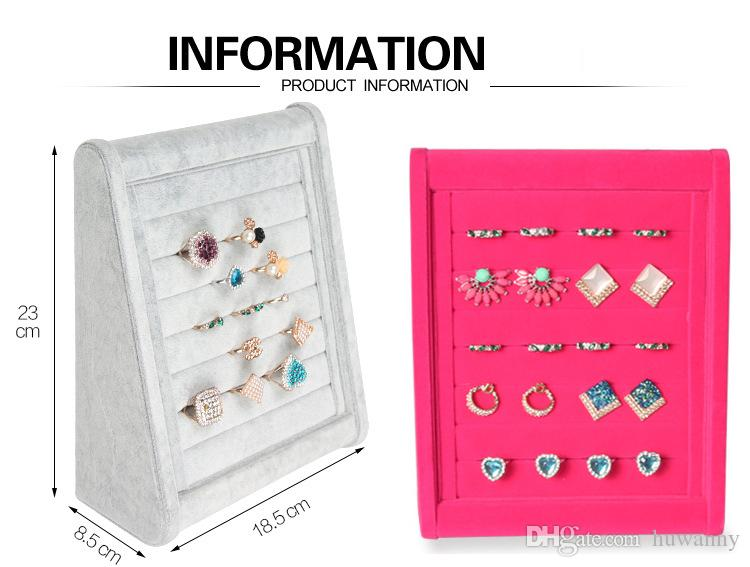 Eearrings Rings Stand Display Full Velvet Jewelry Rack Showing Stand Storage Different Colors Show Shelf Wholesale 0731WH