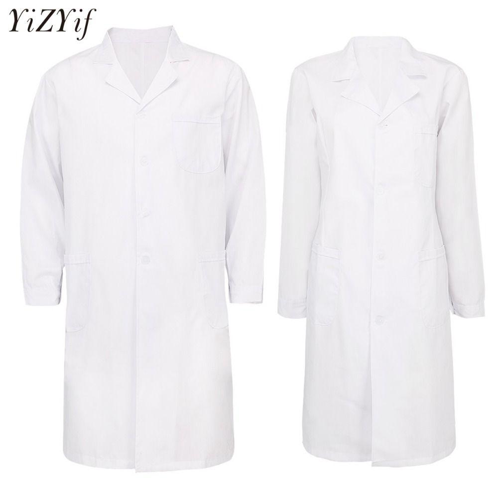 efbbc75ecfa YiZYiF Man Hospital Scrubs Lab Coat Unisex Large Size Lab Uniforms White  Long Sleeve Medical Nurse Doctor Uniform Coat Tinkerbell Halloween Costume  Sexy ...
