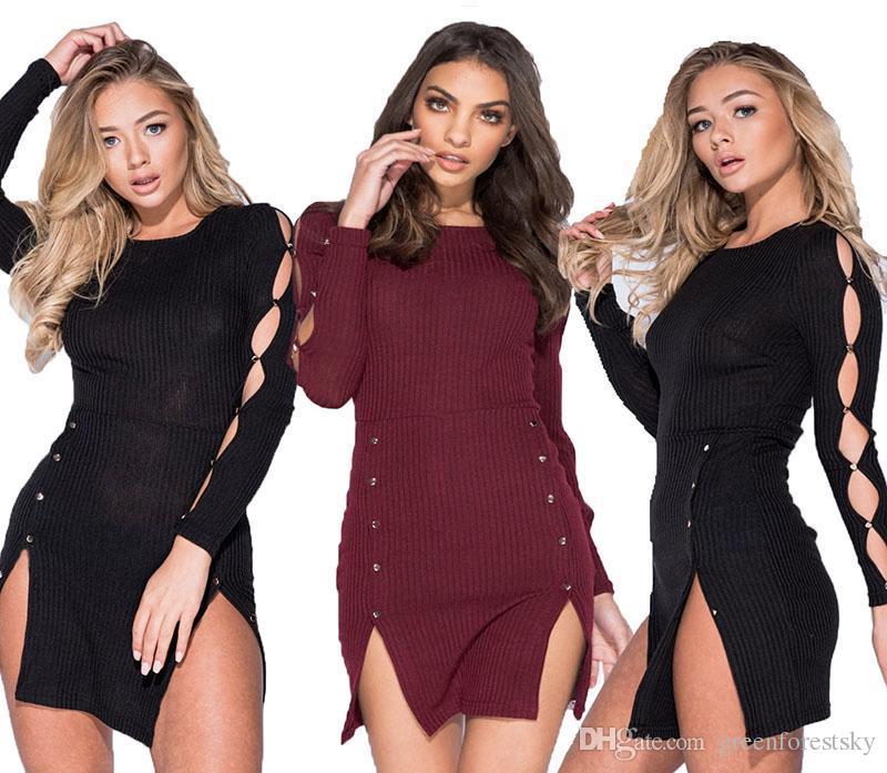 Compre 2018 Vestidos Casuales De Moda Vestido De Suéter De Manga Larga Sexy  Club Slim Bodycon Jersey De Punto Mini Vestido De Vendaje Ropa De Mujer  Vestidos ... b6d62d6fe00c