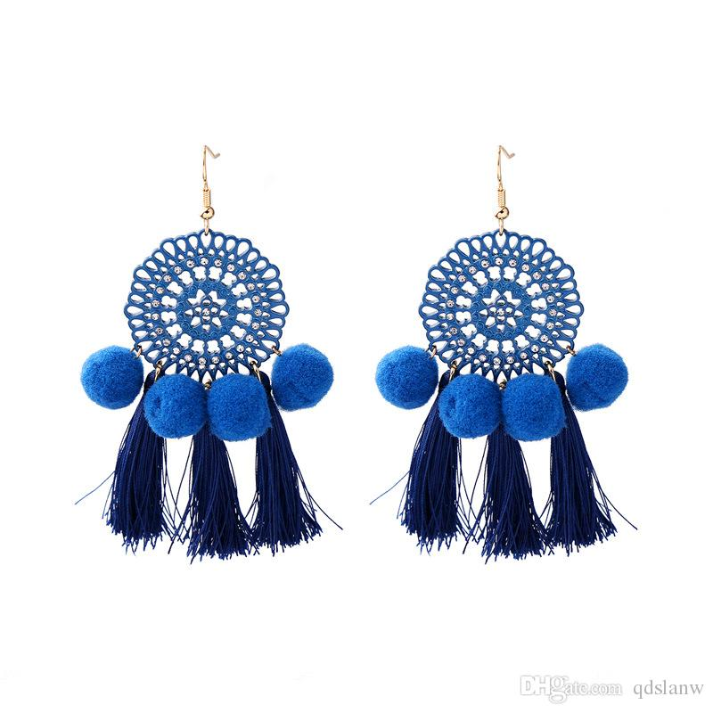 Hot 2018 new design gold plating alloy big circle charm multi ball & tassels pendant long dangle earrings wholesale accessories cute earring