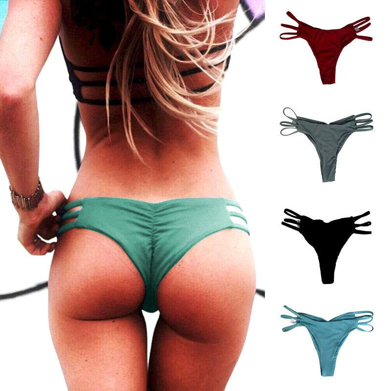 705c84685a5 2019 New Arrival Sexy Women Swimwear Brazilian Cheeky Bikini Bottom Hollow  Side Thong Bathing Solid Summer Swimsuit From Seein