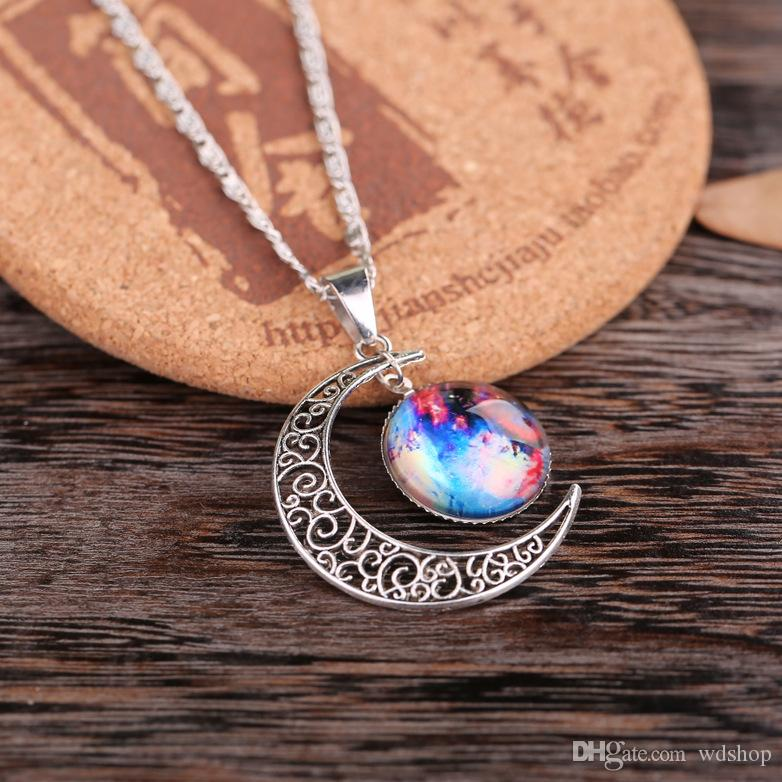 New Vintage Starry Moon Outer Space Universe Gemstone Pendant Necklaces Starry Sky Galaxy Pattern Glass Chain Mix 12 Models