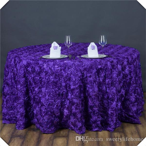 3D Purple Satin Rosette Table Cloths/Encryption Rose Banquet Table Cover  Tablecloths/WHITE 120inch Round Cloth White Round Tablecloths Navy  Tablecloth From ...