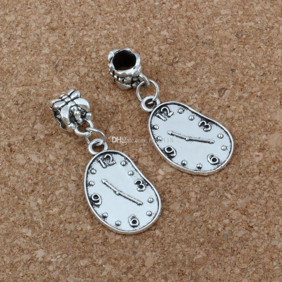 MIC Antiqued Silver Melting Clock Dangles Beads Fit European Charm Bracelet Jewelry DIY Metal