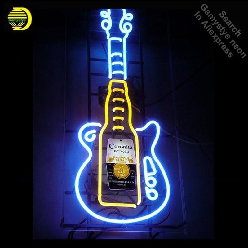 Neon Light Bulbs >> Neon Signs For Corona Guitar Neon Bulb Sign Beer Bar Pub Light Sign Store Display Lamps Glass With Clear Board Dropshipping