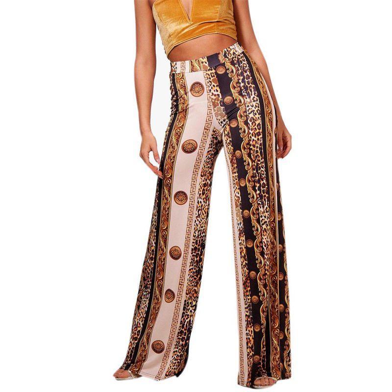 9b4ec17d32bb 2019 Spring Leopard Wide Leg Pants Women Long Casual Loose Pantalon Femme  Boho Style Beach Elastic High Waist Milk Silk Trousers From Lichee666, ...