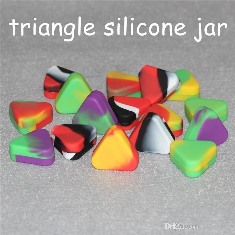 Wholesale nonstick Triangle Silicone Wax Container Box 1.5ml Silicone Jars Dry Herb Wax Box Container Dab triangle silicone jar