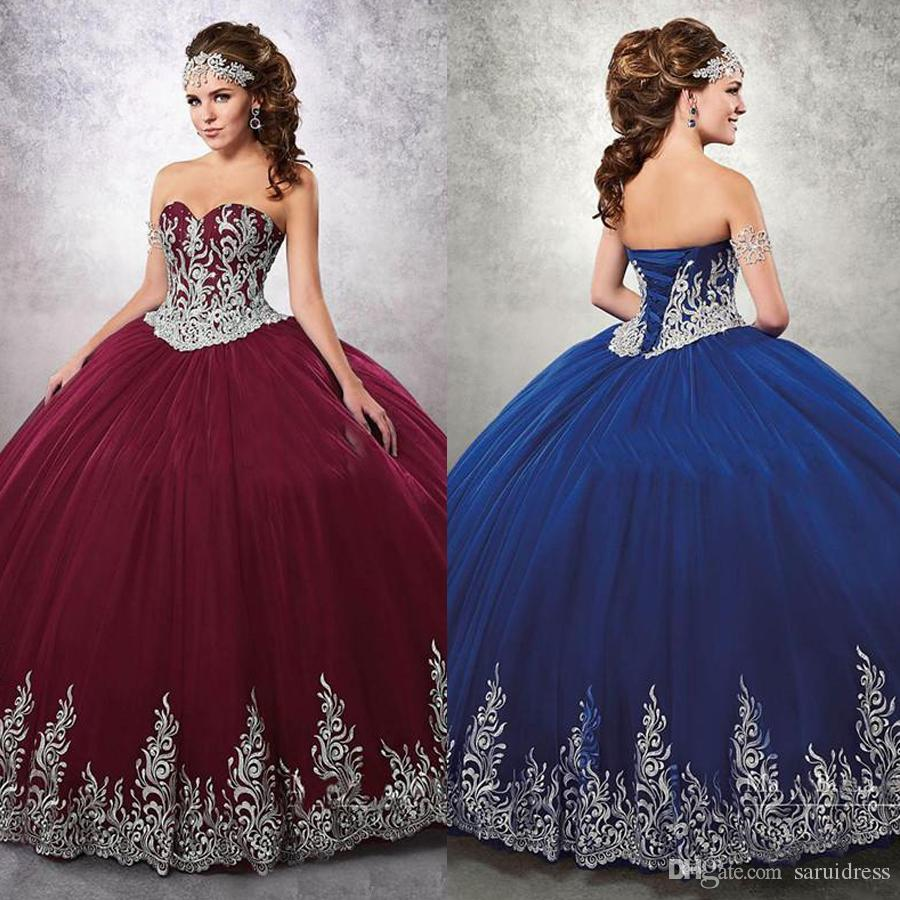 54c79f7c1ec Sweetheart Neckline Appliques Gown Burgundy Beaded Ball Gown Quinceanera  Dresses With Jacket Tulle Lace Up Back Sweet 16 Dress Vintage Quinceanera  Dresses ...