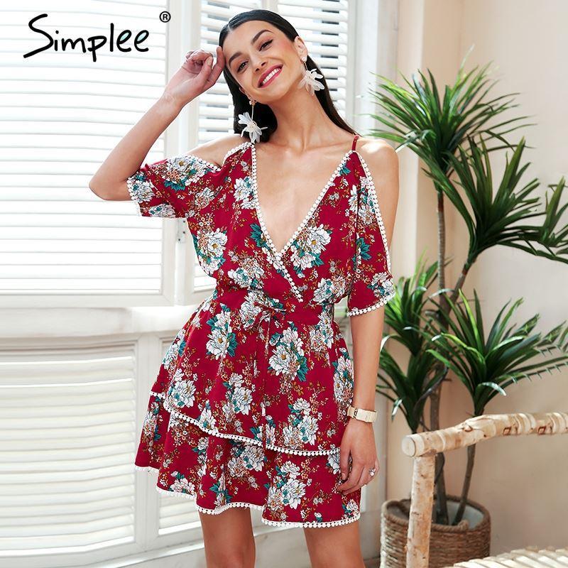 4ce5d14f1d3af Simplee V neck lace up boho summer dress women Half sleeve backless short  dress Cold shoulder casual dress 2018 vestidos