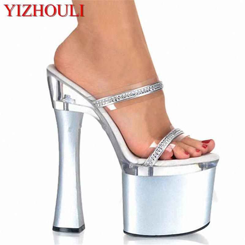 3b3f216198d5 Of Women S Shoes 7 Inch High Luxury Diamond High Heel Sandals Thick  Platform Princess Sandals Sexy 18cm Crystal Slippers Leather Boots For Women  Purple ...