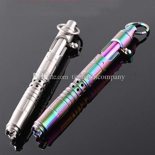 Titanium TC4 140mm lungo 50g Tactical Bolt azione penna gel EDC difesa personale lucidato superficie arcobaleno primario colori opzione
