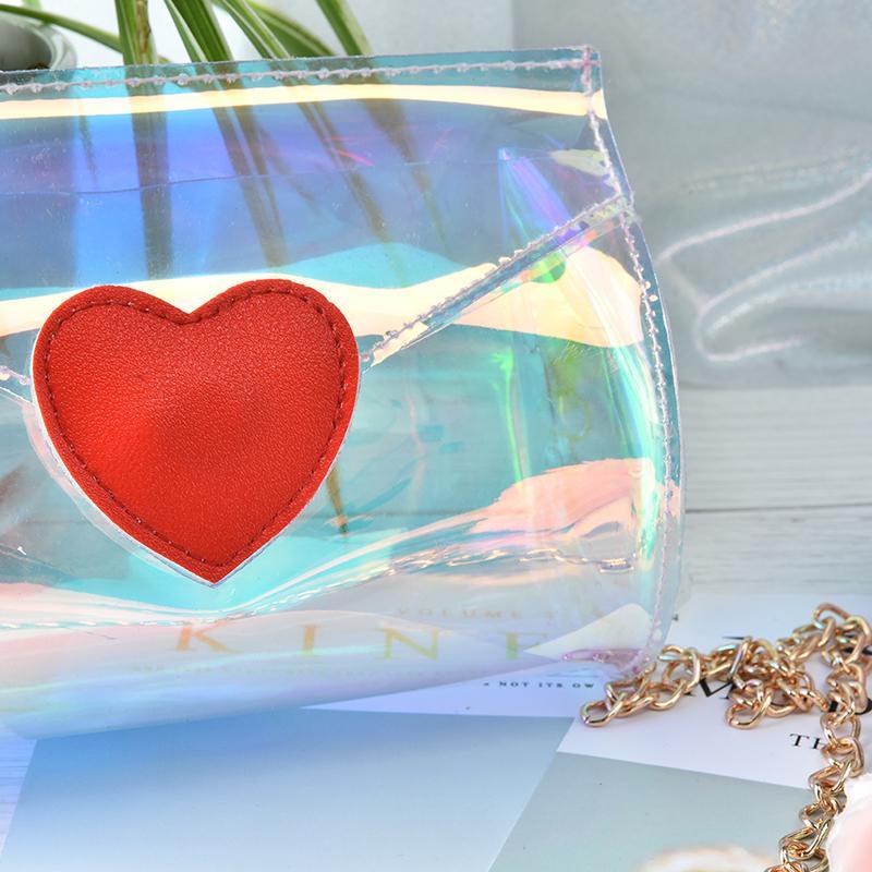 Bolsas de Mensajero Transparente Pequeñas Bolsas de PVC Bolso Del Teléfono Satchel Amoroso Corazón Láser Brillante Mujeres Bolsas de Hombro Bolso Transparente Transparente