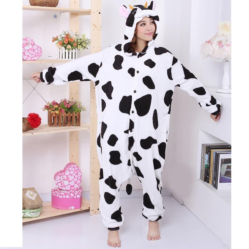 9ea4bd2976 2019 Winter Hooded Cow Stitch Panda Totoro Unicorn Pajama Women Cute Adult  Unicorn Pajamas Flannel Warm Pajamas For Women From Lucycloth