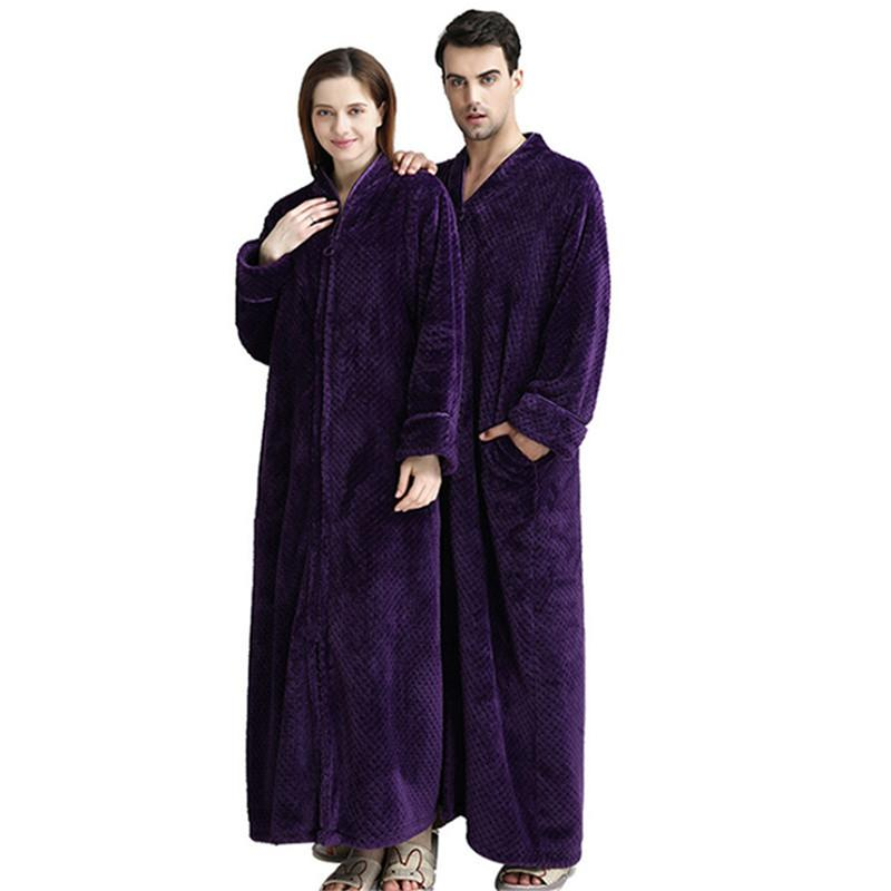 2790d6858d 2019 Zebery Unisex Flannel Long Robes Zipper Housecoat Full Length Zip Up  Robe Long Sleeve Wrap Bathrobe From Hannahao