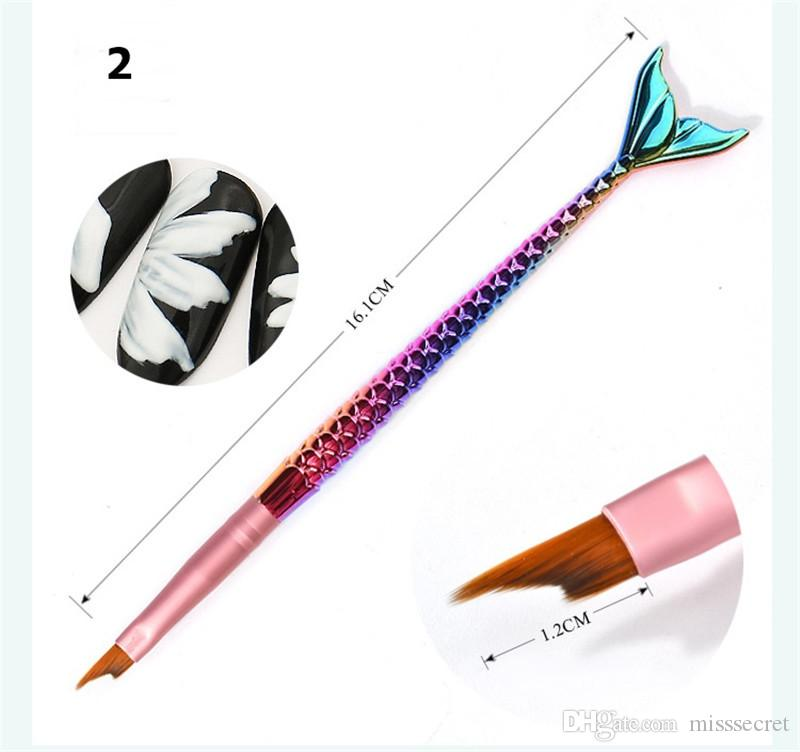 Hot Mermaid Nail Art Brushes UV Gel Polish 3D French Tips Sculpture Drawing Pen Manicure Tools