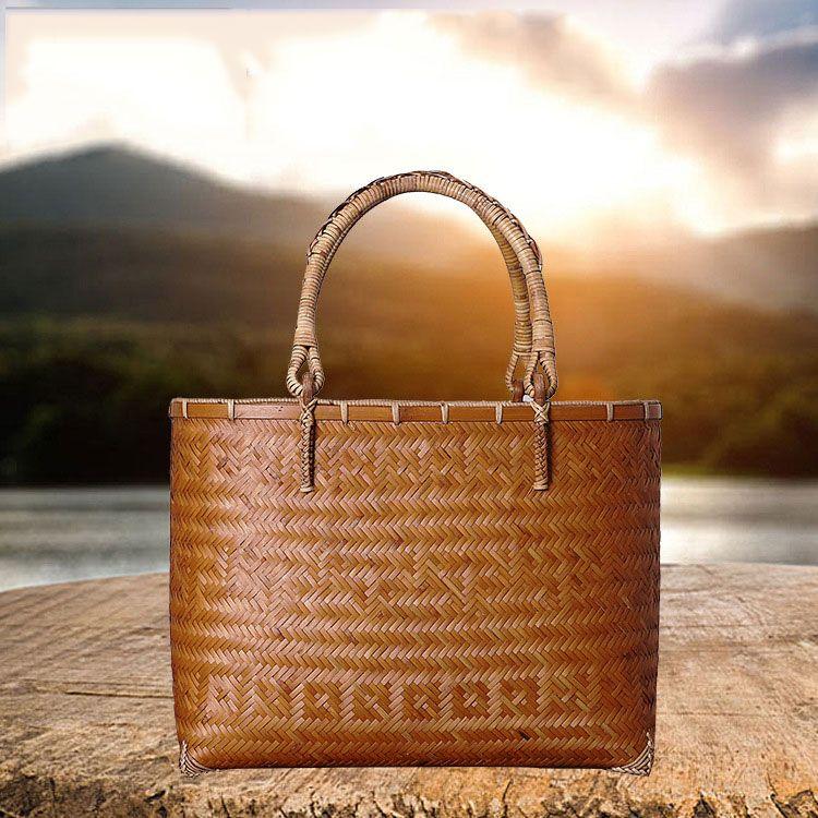 2019 Environmental Protection Bags Natural Bamboo Bag Bamboo Handbag