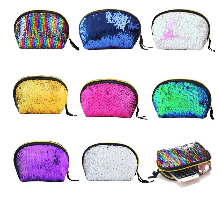 8colors Mermaid Sequin Cosmetic Bag Glitter Makeup case Purse Bling Storage Organizer Glitter Bling shell pouch Wedding Clutch Bag FFA572