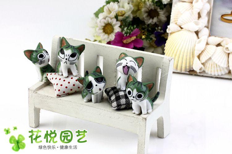 Cartoon Resin Kitty Dolls Craft Miniature Moss Bonsai Pots Decoration Cheese Cat Tabletop Succulent Terrarium Decor Fair Garden Figurines