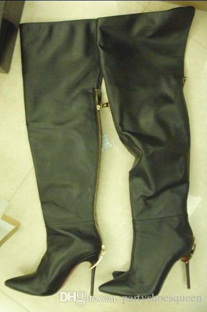 2018 зима новые женщины над коленом высокий высокий Гладиатор сапоги бедро высокие пинетки тонкий каблук черный кожаный длинные пинетки золотой каблук