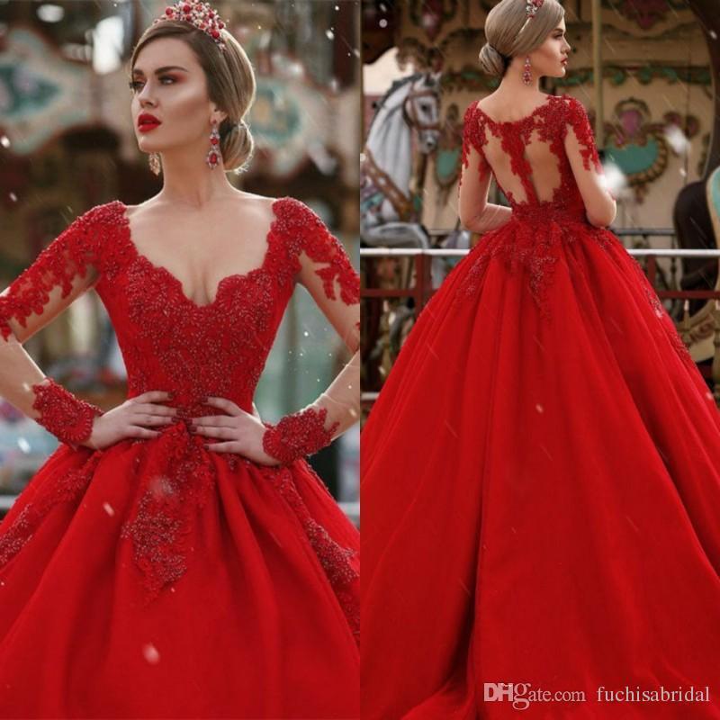 compre vestido de novia rojo de manga larga con perlas vestido del