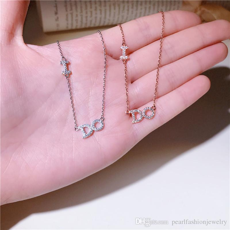 New Arrival Brand Designer Silver Necklace I DO Gold Letters Sterling  Silver Pendant Necklace Women Fashion Sweater Necklaces Jewelry