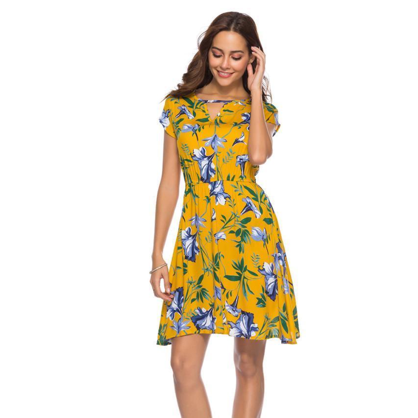 38d226d307 Compre Moda Para Mujer Con Cuello En V Vestido De Fiesta Estilo Bohemio  Elegante Para Mujer Verano Estampado Floral Fiesta En La Playa Mini Vestidos  ...