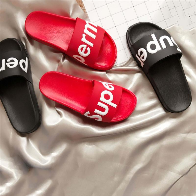 9bf6d76f4458 2018 Newest G7Supreme Box Logo Slippers Indoor Sandals Girls Fashion Hip Hop  Scuffs Black Red Fur Slides Pullover Beach Sandals Size 36 44 Ladies Shoes  Red ...