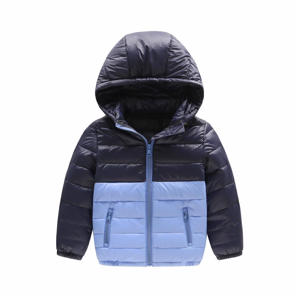 Vestes enfants pour garçons filles 90% duvet de canard blanc style patchwork manteau à capuche chaud manteau enfants survêtement de neige 2017 nouveau