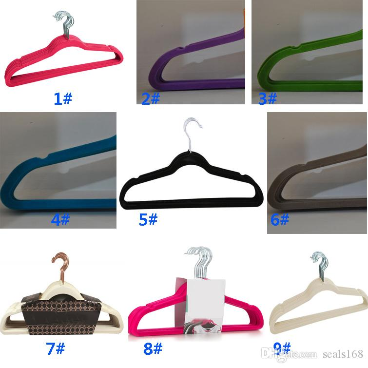 360 Degree Hangers Racks For Swivel Velvet Suit Non-Marking Space Saving Hangers For Pant Bar Garments Shirt Suit Clothes Black Red HH7-1107