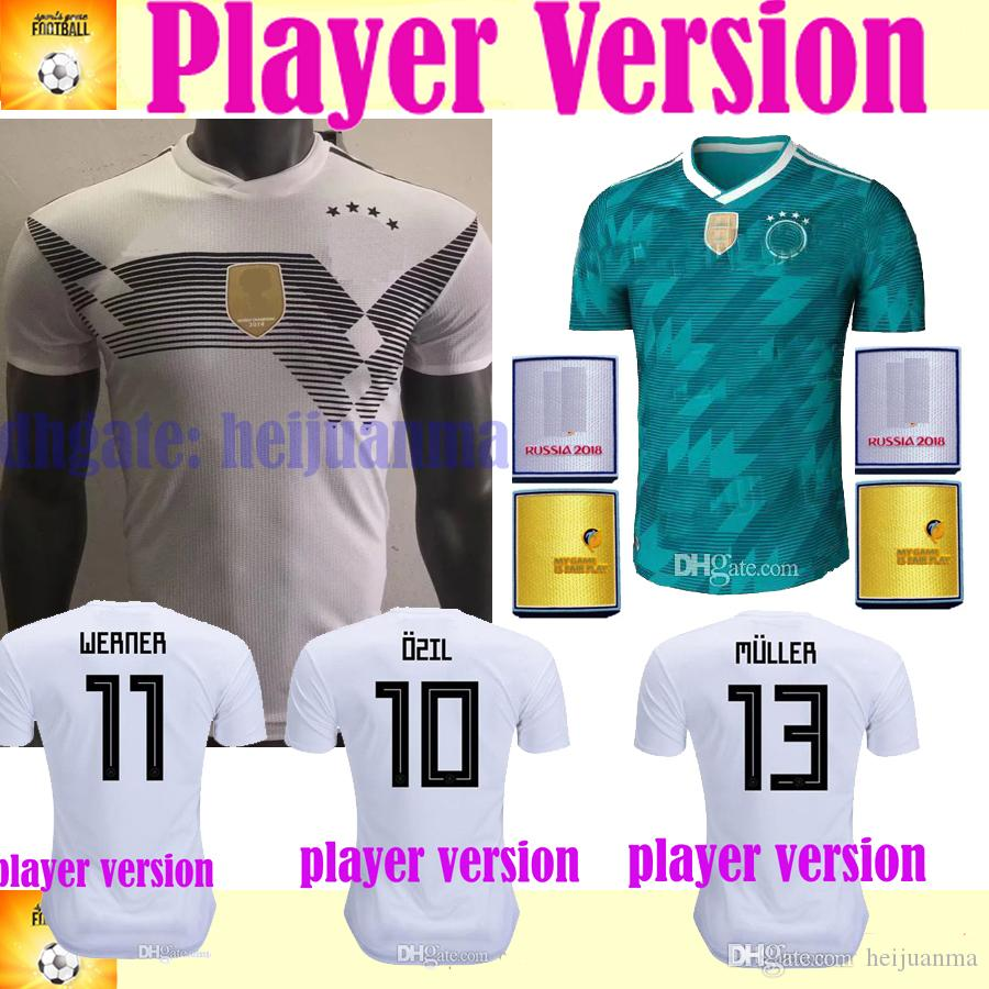 2019 2018 Player Version MULLER Home White Jersey MULLER DRAXLER OZIL KROOS Soccer  Jerseys HUMMELS WERNER HECTOR Away Green GeRmAnY From Heijuanma e819a27fa