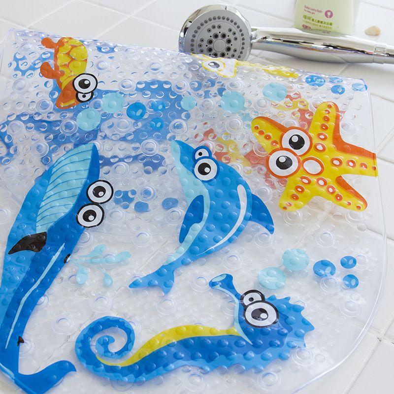 38cmx69cm Baby Bath Mat Anti-Slip PVC Cartoon Bathmats Tub Mat with Suction Cup Toddler Fish Bathtub Mat