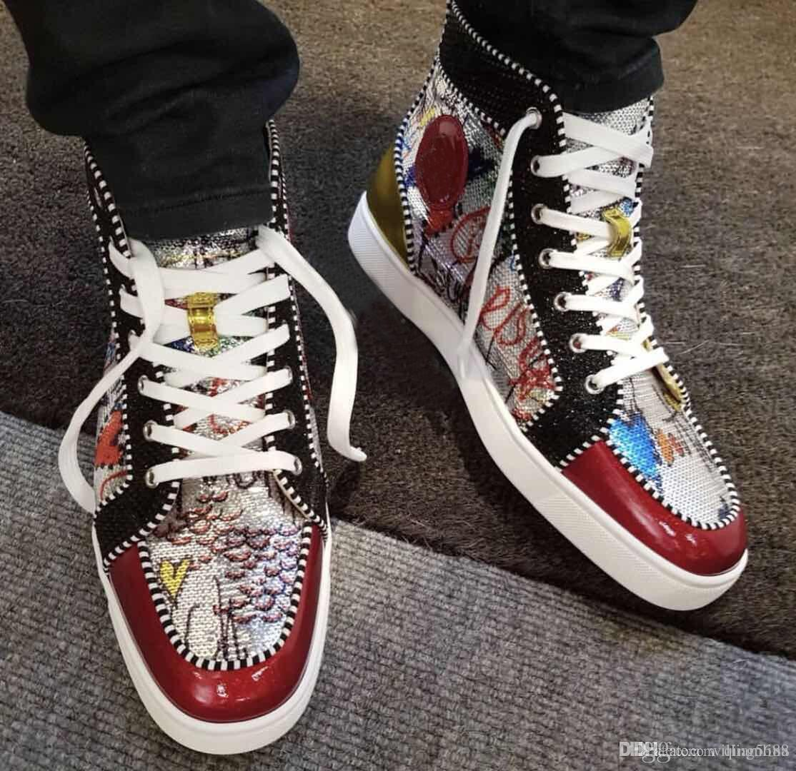 890d24c199d couple high-top red bottom sneakers shoes for women,men outdoor red bottom  shoes glitter beads fashion red sole luxury party dress 36-46