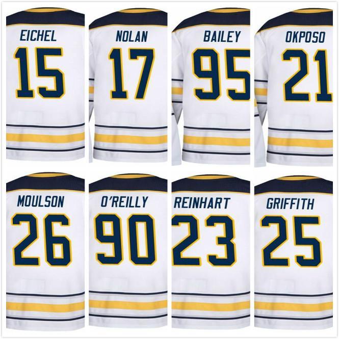 2018 Buffalo SABRES Away White Hockey Jerseys Jack Eichel Justin Bailey 17  Nolan Ryan O Reilly Matt Moulson Sam Reinhart Okposo Griffith UK 2019 From  Cn ... 60ec34ab3