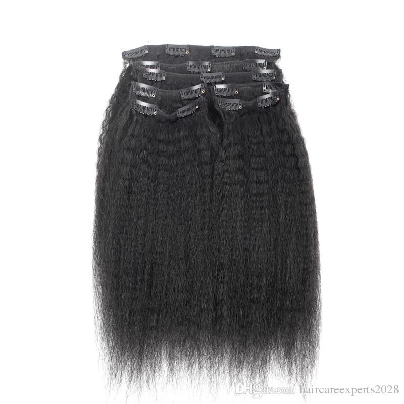 ELIBESS HAIR 브라질 버진 레미 Hair Kinky 스트레이트 클립 인체 헤어 익스텐션 7 개 세트 / Natural Color 100g / set