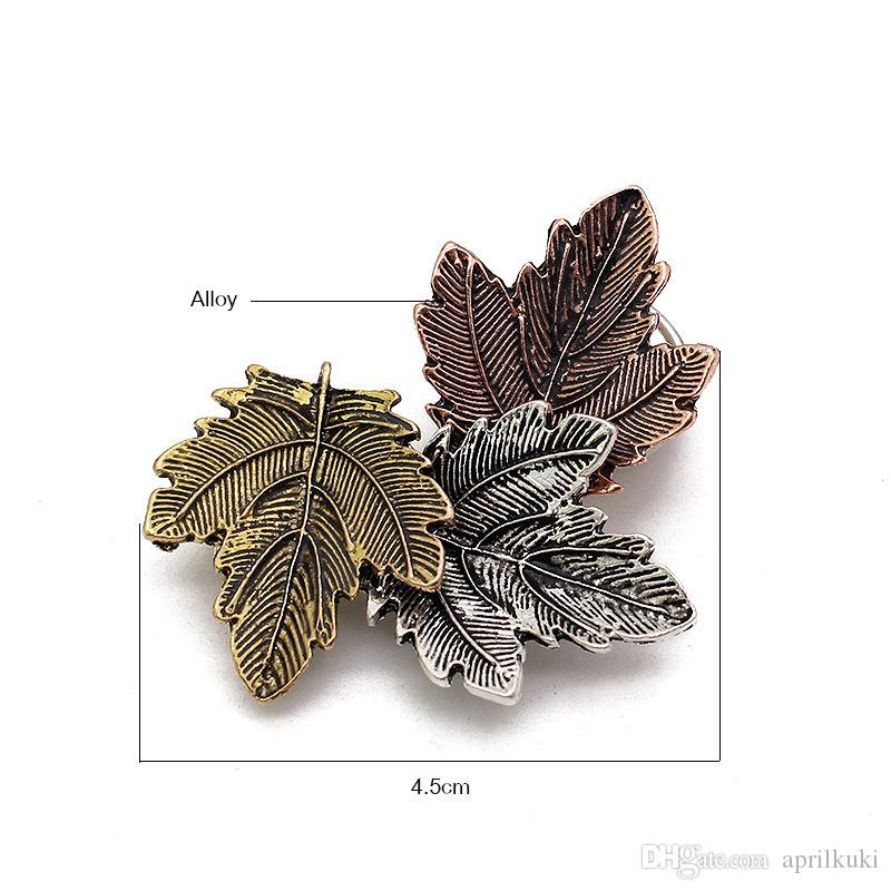 Elegant Maple Leaf Brooches for Women Gold Silver Rose Gold Plated Costume Jewelry Clothes Accessories Brooches For Wedding