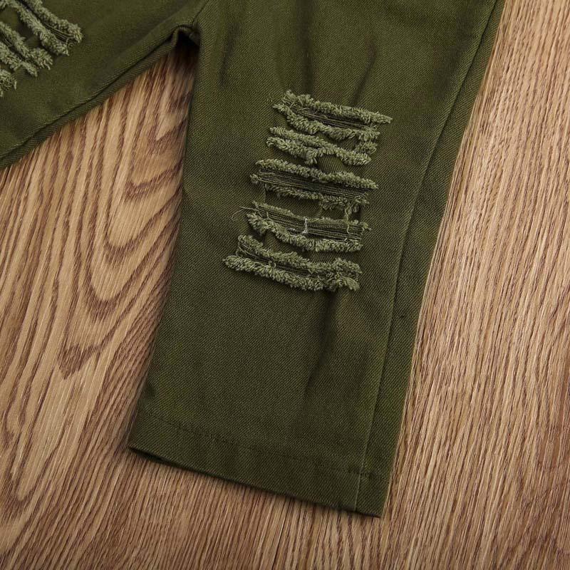 Moda Recém-nascidos Da Criança Dos Miúdos Menina Roupas Set Manga Curta Pestana T-shirt Tops + Exército Verde Trecho Rasgado Calça Calça