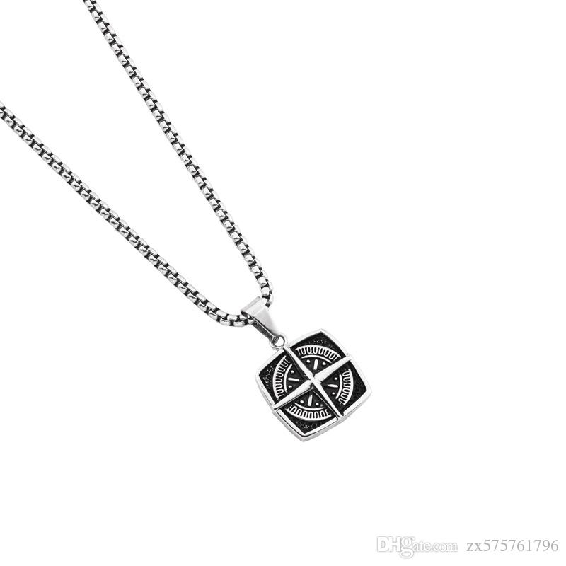 e1c31166e1e40 Wholesale Unique Cross Compass Pendant Designs Men Necklaces Charms Fashion  Stainless Steel Jewelry Chains For Necklaces 27.5inch Chain Diamond Heart  ...