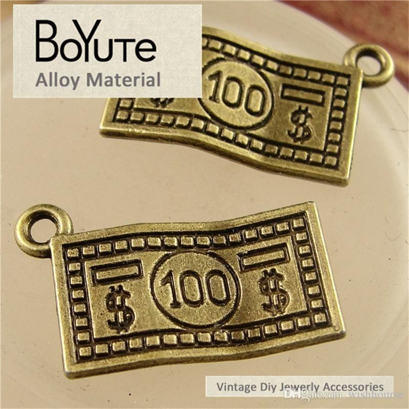 BoYuTe  13*21MM Vintage Style Antique Bronze Plated Zinc Alloy Dollar Charms for Jewelry Making Diy Bracelets Accessories