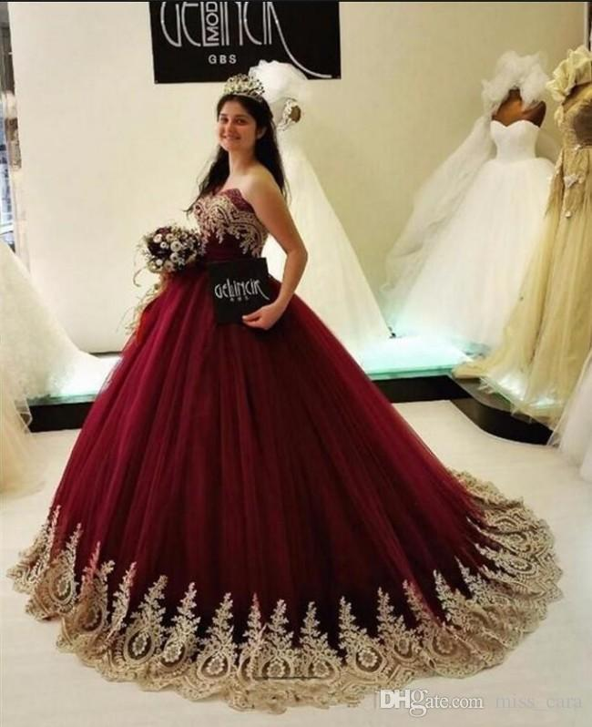 64eeaf648b 2018 Elegant Burgundy Quinceanera Dresses Sweetheart Backless Ball Gown  Prom Dress Gold Appliques Evening Gowns Sweep Train Cheap Create Your Own  ...
