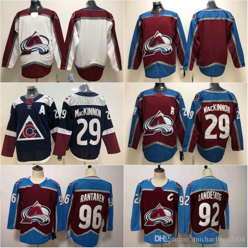 low priced a8e00 7e7c1 2018 New Mens Colorado Avalanche Jersey 29 Nathan MacKinnon Cheap 92  Gabriel Landeskog 96 Mikko Rantanen High Quality Hockey Jerseys