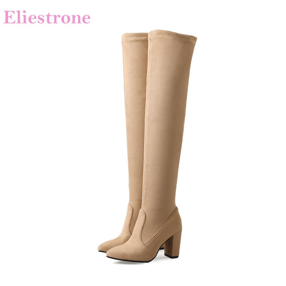 38f54e994f2 Brand New Winter Quality Gray Black Women Thigh High Slouch Boots Over Knee  Lady Shoes AB22 High Heels Plus Big Size 11 32 43 46 Hiking Boots Shoes For  ...