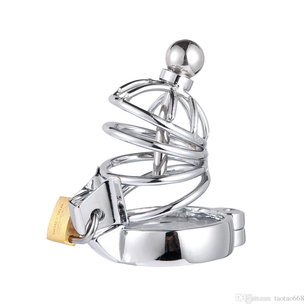 Super Small Male Chastity Cock Cage Sex Slave Penis Lock Anti-Erection Device With Removable Urethral Sounding Catheter Shortest